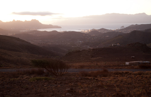 Mindelo at dusk, photographed from Monte Verde on Sao Vicente.