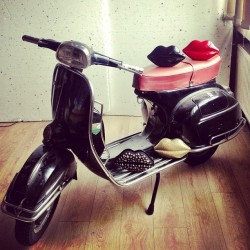 We've found ourselves a cheeky little Vespa in the studio.. #aw13shoot #luluguinness