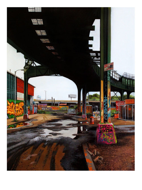 "Now available as a limited edition print: ""Davis Street I"" by artist Jessica Hess.  Based on her oil on canvas painting of the same name, this fine art print comes signed and numbered by the artist in an edition of only 50 copies worldwide.  Check it out here! - http://store.spoke-art.com/collections/fine-art-prints"