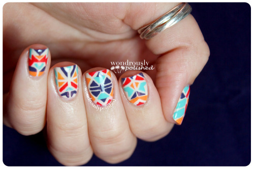 wondrouslypolished:  Vibrant Aztec tribal print!