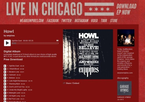 "The ""music.weareempires.com"" page appears to be in progress. Two changes: 1) The change to red with the banner addition (with the reference to an EP that must be coming soon???) 2) The mp3 of Shame live in Chicago has been taken down. I'll keep my eyes and ears out!"