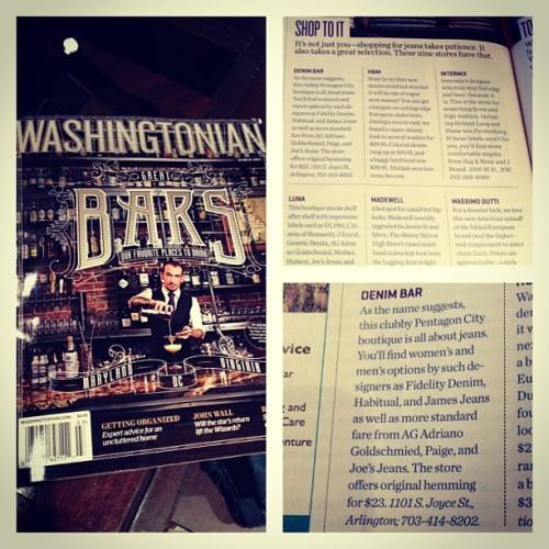 Guess who's in this month's Washingtonian!!!! Top of the list of best places to get denim in the DC-Metro area and East Coast. Stop by and see for yourself. #Denim #Fashion #Washingtonian #DC #NoVa #DMV  (at denim bar)
