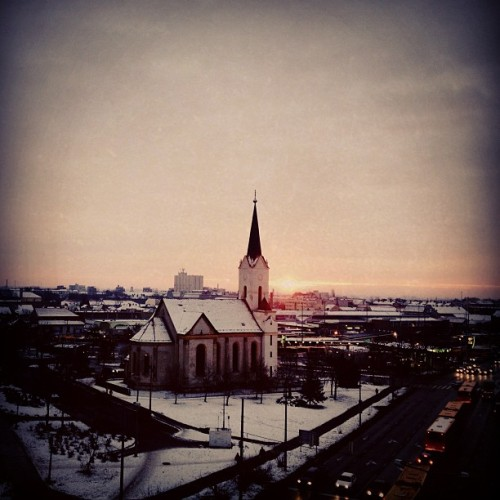 psztrnk:  #sunrise #miskolc #church  (at Búza tér)