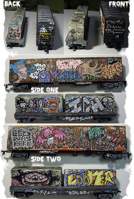 outsiderindustries:  Aerni Graffiti Toy Train Cars by justinaerni on Flickr.