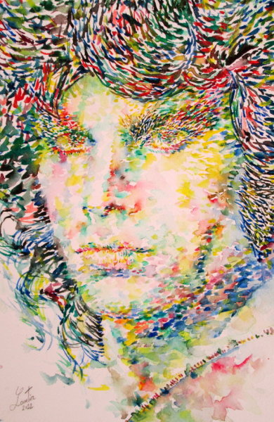 "thelookingglassgallery:  ""Jim Morrison Watercolor Portrait.1"" by superlautir"