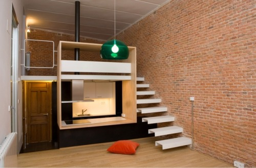 tinyhousesmallspace:  400 Square Foot Loft Apartment
