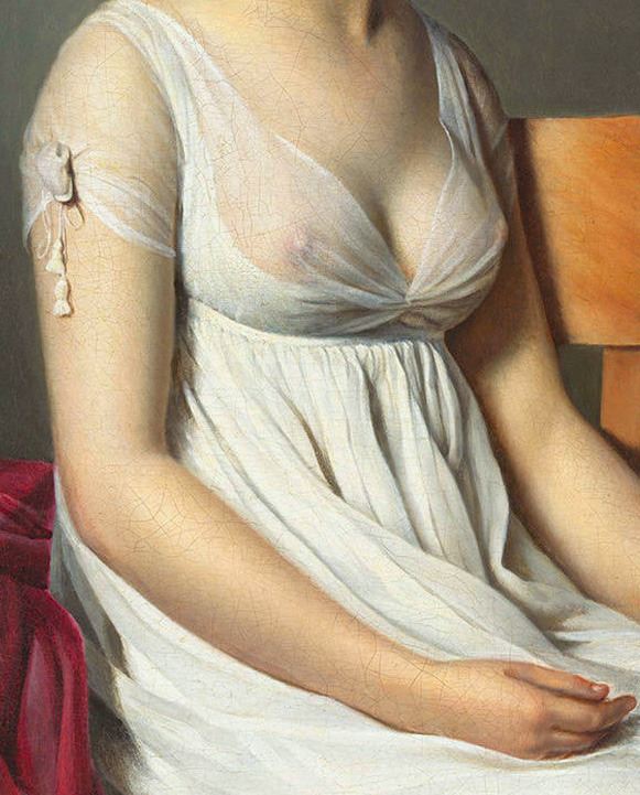 c0ssette:  (Detail) Portrait of a Young Woman in White, c. 1798 by Anonymous Artist (painter), Jacques-Louis David (related artist), oil on canvas