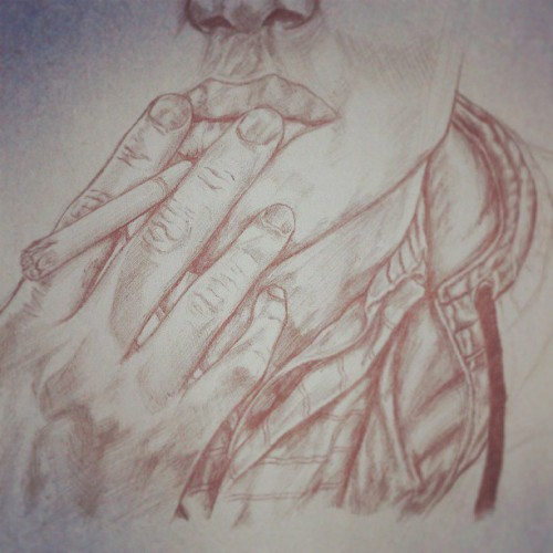 #old #smoking #drawing #black #biro #closeup #lines #crosshatches