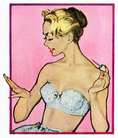 theniftyfifties:  Detail from a 1959 Jantzen Curvallure Bra advertisement.  #Vintage love
