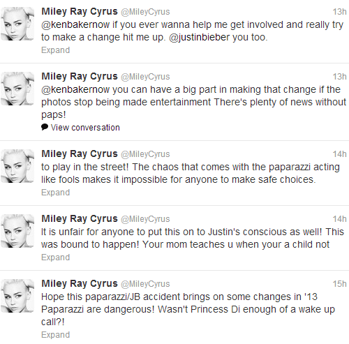 Miley defends Justin on the paparazzi incident