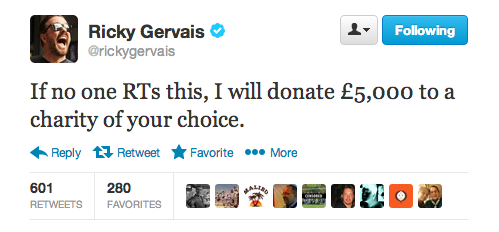 People Don't Care About CharityAs proven by a simple twitter experiment from Ricky Gervais   View Post