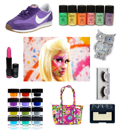 Nicki Minaj Collage NYX Hot Pink Lipstick NYX Loose Pearl Eyeshadow Nike Oceania Running Sneaker Vera Bradley Mandy Bag Ardell Invisiband Lashes NARS Blush in Albatross Crystal Owl Ring Shany Cosmetics Gel Eyeliner