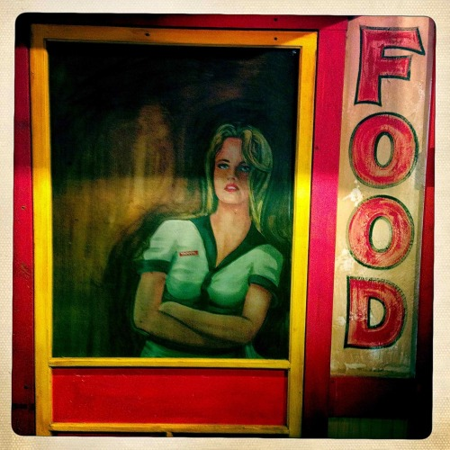 """Food""  For your daily dose of Hipstamatic this image of a sign in Famous Dave's Barbecue in Fargo, ND. Hipstamatic 261 with John S lens and Ina's 1969 Film, no flash. Visit my HDR blog at www.liquidsoaphdr.com"