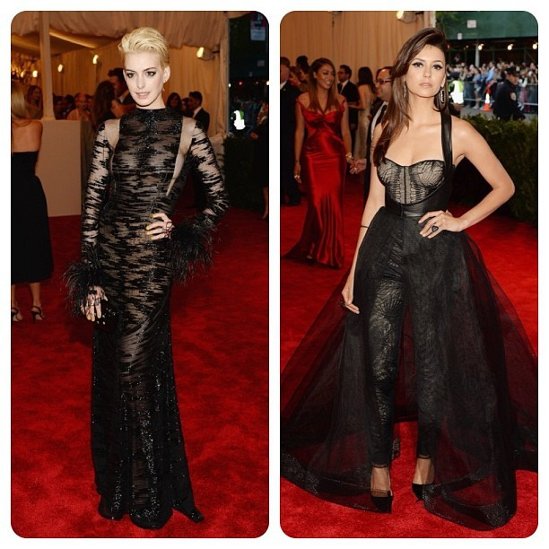 My favorites at the Met Gala 2013. 💅👗👠💄💍 #fashion #met2013 #metgala #metgala2013 #annehathaway #ninadobrev #punk