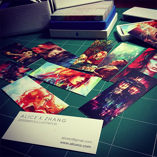 My new mini business cards came!! They feature a variety of my artwork, and were printed by MOO.com. These will be free to take at my solo show in June! (They make cute bookmarks.) I'll also start including them with orders made at my official shop.