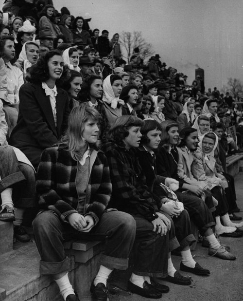 Teenage girls at a football game, Missouri, 1944 by Nina Leen