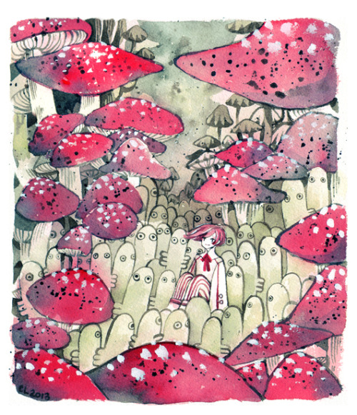 maruti-bitamin:  A field of Hattifatteners Watercolour + 140lb paper + white gouache  *A*