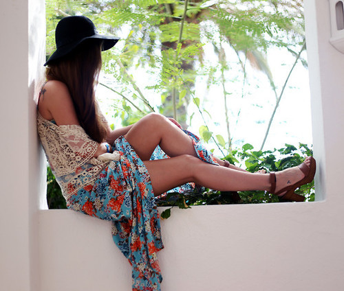 bonnyinpink:  Floral Maxi Dress, Cream Bolero, Wooden Heeled Sandals | Being Boho (by Kylie Lawson) | LOOKBOOK.nu on @weheartit.com - http://whrt.it/13jGHGf