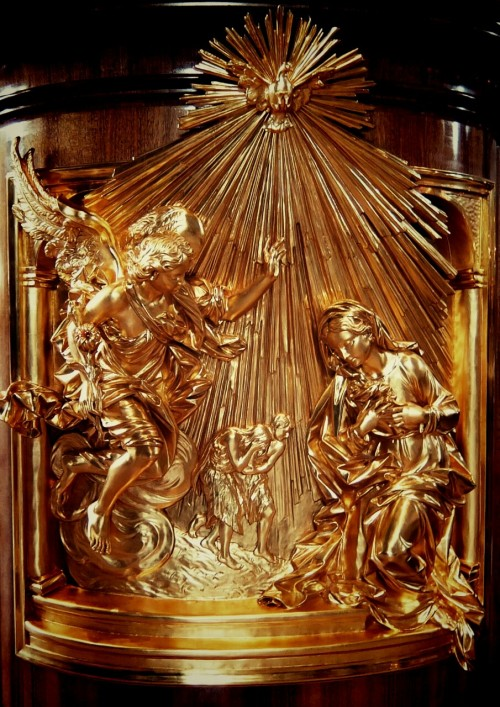 A detail of the pulpit next to the papal altar in St Peter's basilica, Vatican City, depicting the Annunciation. The feast of the Annunciation is celebrated today. Usually the date is March 25, but as this fell on the Monday of Holy Week the solemnity was postponed to today. The feast commemorates the announcement by the archangel Gabriel to Mary that she was to become the mother of Jesus. It is often considered as the beginning of the Incarnation story.