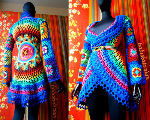 Crochet Coat - Aztec Sun Mandala And Granny Squares on Flickr.