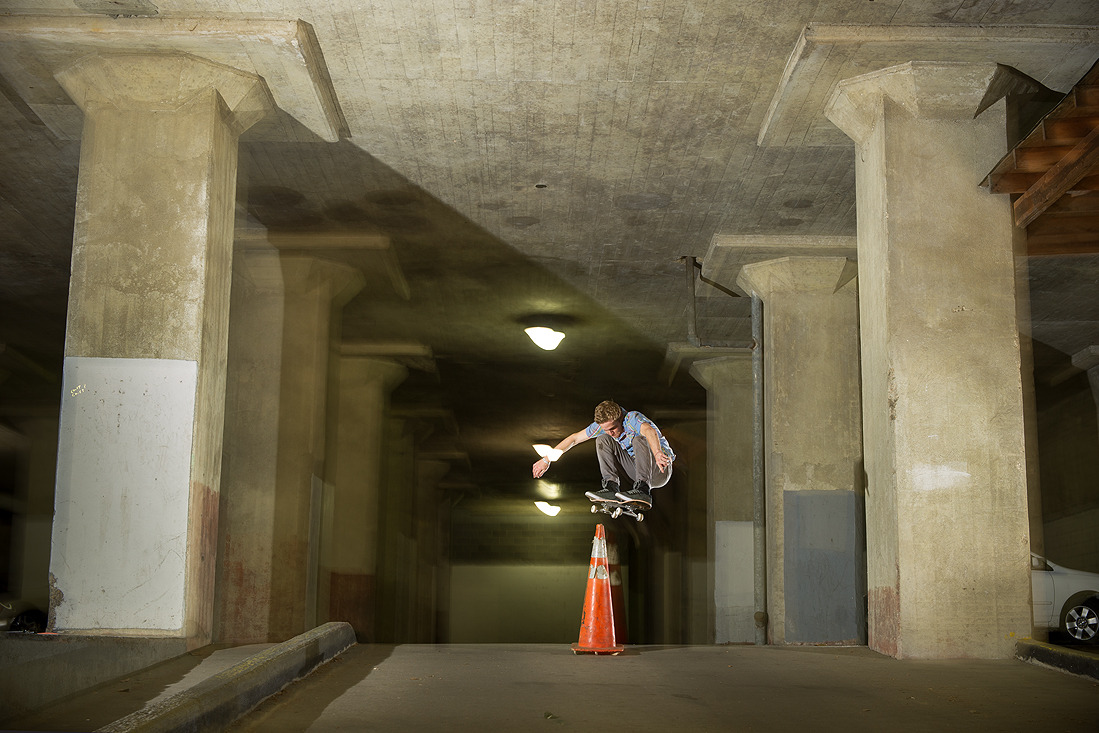 Josh Swyers-ollie over a cone-May 2013