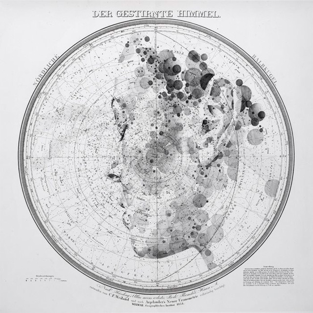 cordisre:  Ink and graphite portraits on Celestial Star Charts by Ed Fairburn