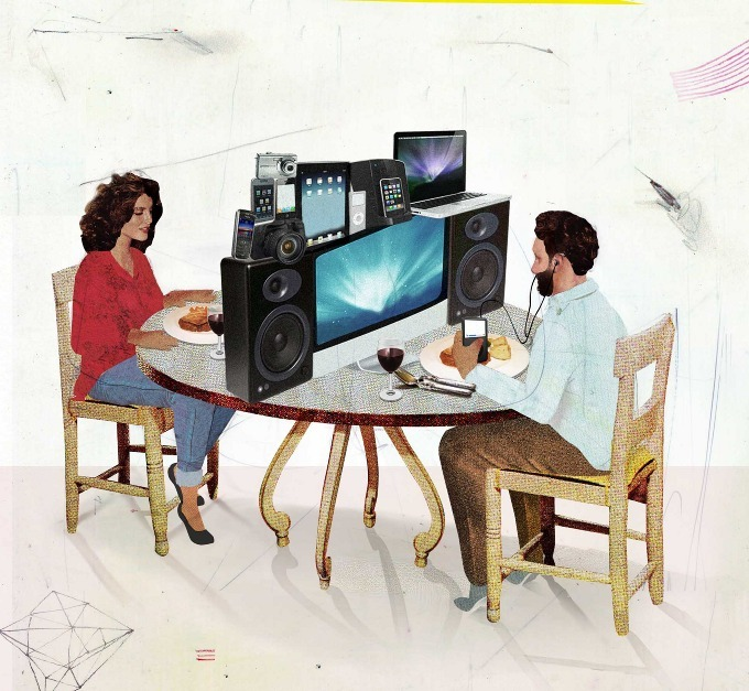 Quality time.  #illustration #technology #dinnertime