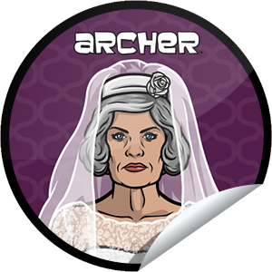 I just unlocked the Archer Episode 9 sticker on GetGlue                      4199 others have also unlocked the Archer Episode 9 sticker on GetGlue.com                  You've unlocked one mother of a bride. Thanks for checking-in for Malory and episode 9. Share this one proudly. She's from our friends at FX.
