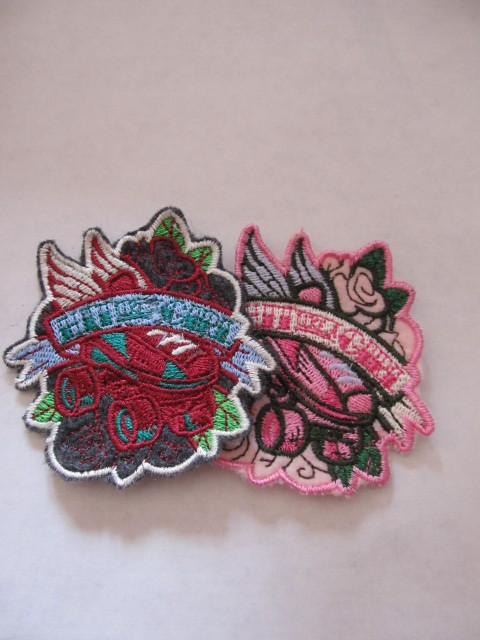 dirtygirldesigns-etsy:  Hit like a girl patches from Urban Threads done on my machine.