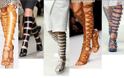 "The sandalboot appears to be the shoe trend for 2013.  According to Ferragamo's creative director Massimiliano Giornetti, ""this design sensually unveils the foot and highlights the leg, adding glamorous touch to any short skirt or dress."" Guess I'll need a shorter make-up routine to give myself an extra 20 minutes to lace these things up."