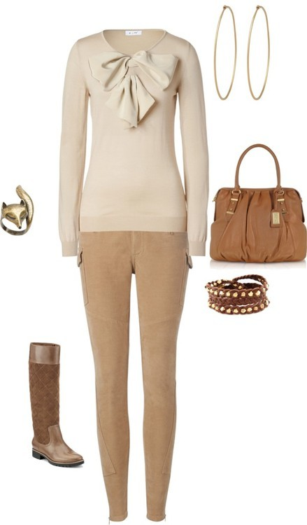 Neutral by janeamcdonald featuring skinny pantsMoschino beige sweater / Ted Baker skinny pants / Sperry Top-Sider boat shoes / Badgley Mischka leather bowling bag / Social Anarchy hammered jewelry / Beaded wrap bracelet / Aubin & Wills rhinestone ring, $20