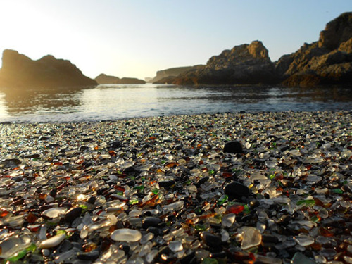 Shoreline dump becomes beautiful glass beach