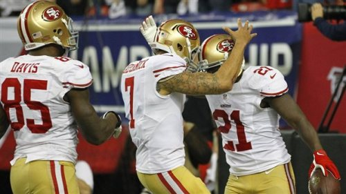 San Francisco 49ers advance to the Super Bowl AP: The San Francisco 49ers have beaten the Atlanta Falcons, 28-24, in the NFC title game, advancing to the Super Bowl . The 49ers will play the winner of the Baltimore Ravens-New England Patriots game. Photo: San Francisco 49ers running back Frank Gore (R) is congratulated by quarterback Colin Kaepernick (C) and Vernon Davis after scoring a touchdown against the Atlanta Falcons during the third quarter. (Gary Hershorn / Reuters)