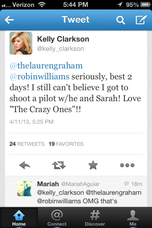 "Kelly's going to be in the pilot episode of ""The Crazy Ones""! So cool!"