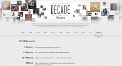 A Decade of iTunes, pretty neat and (slightly) enjoyable to browse around. But, still it would be better if those songs in each year are on special price.