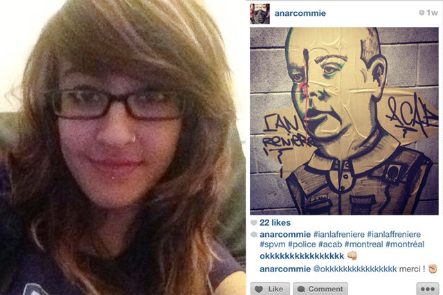 "thinktankgallery:  20-YR-OLD GIRL ARRESTED FOR POSTING IMAGE OF STREET ART Most graffiti artists know that social networking is one of the best ways to catch a case nowadays, with police watching FaceBook, Twitter, Instagram and more looking out for the dumber members of our ""criminal"" society to digitally print evidence of their ""wrongdoings."" But it may be going a bit too far when people who are simply posting photos of art they see on the streets as they walk around begin getting arrested and detained for hours because of these acts. 20-yr-old artist Jennifer Pawluck was arrested yesterday after simply posting a photo she took of an anti-police image on the street.  Pawluck's warrant states that she had ill intent toward police officers, posting the image of Ian Lafrenière with a bullet hole in his forehead, but she claims not even to know who he is. That doesn't change the fact that she has to remain one kilometre away from any police station or Lafrenière's home until her trial date on April 17th, though. Check out her interview with the Huffington Post here."