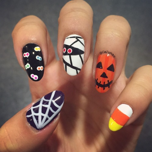 Spider web nail designs tumblr halloween themed nails i recreated all 10 of cutepolishs halloween designs from her youtube video prinsesfo Choice Image