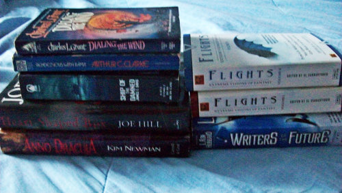 Last Night's Library Book Sale Haul: Heart-Shaped Box by Joe Hill Anno Dracula by Kim Newman Dialing the Wind by Charles L. Grant Rendezvous with Rama by Arthur C. Clarke Ship of the Damned by James F. David Flights: Volumes One and Two A Writers of the Future Anthology
