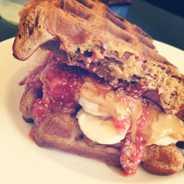 Well, why not. Waffle sandwich filled with banana, PB, raw strawberry chia jam. Gluten-free waffles too!  #vegan #vegansofig #veganfoodshare #glutenfree #waffles #veganfoodporn #foodporn #organic #whatvegansmake