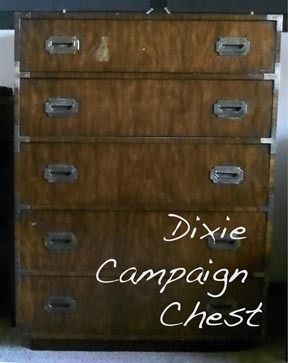 Found a campaign style dresser on Craigslist. Can't wait to clean it up and refinish it. It is from the manufacturing company Dixie, and is estimated to have been produced in 1972. It is solid wood, and has beautiful dovetail joints on the drawers.