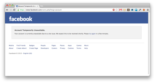 THE END OF FACEBOOK?! THERE MAY BE A GOD Or is this just the screen you get when someone convicts you of doing bad things?