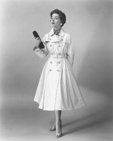'Everglaze' cotton satin trench coat (1954)  Click here to view the image in our Digital Archives.