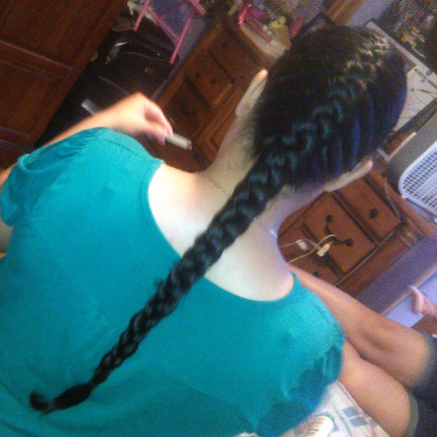 Braiding my mommas hair #megalonghair #frenchbraid #mymomma #myroom #practicemakesperfect