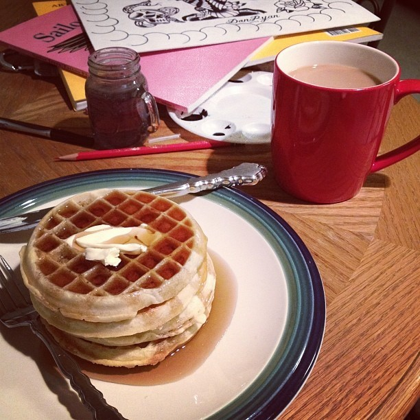 Midnight snack. #coffee #waffles #fatguy #cockroach