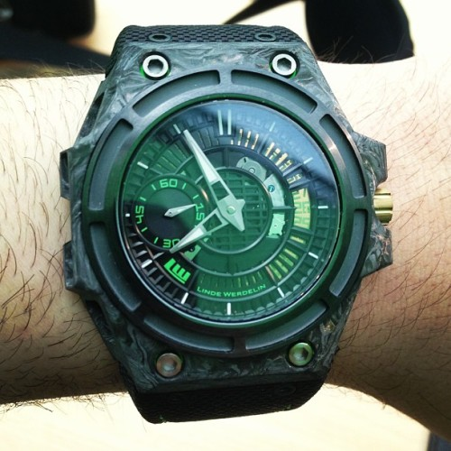 ablogtowatch:  Linde Werdelin Spidolite II Tech #watch at #baselworld2013 with @mortenlinde @lindewerdelin #watchporn #instawatches #watchporn #ablogtowatch  (at Baselworld 2013)