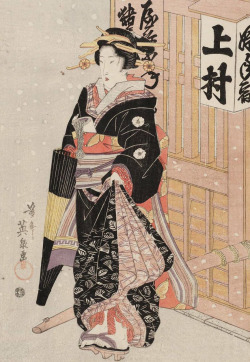 thekimonogallery:  Woman in snow. Ukiyo-e woodblock print, about 1830's, Japan, by artist Keisai Eisen.