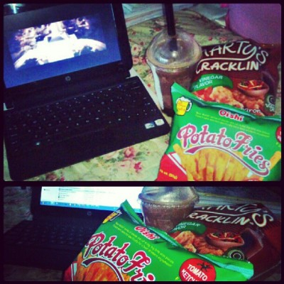 This is it. HAPPINESS :) Rest for a while… Watched Chinese Zodiac, ate junkfoods, drunk choco hot fudge. #movie #foodporn #Happiness
