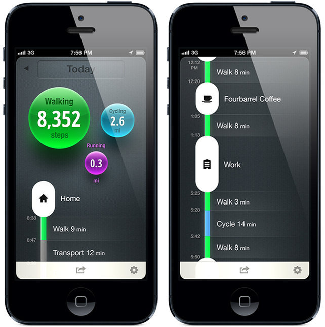 "A new app called Moves could be the simplest fitness app ever.  It lives in your iPhone and tracks your activity in the background, so there's no separate device to learn how to use or remember to carry (you already have your phone on you at all times).  There's no setup: You install it, turn it on, and that's it.  And there's no management, syncing, or any other ""interactive"" bullshit to forget to do or get bored of and stop doing altogether. You don't even have to launch it—Moves will simply ding a little summary of your physical activity into your Notifications Center every day, where you'll end up seeing it regardless of what you're doing with your phone. Essentially, Moves gives you no more excuses."