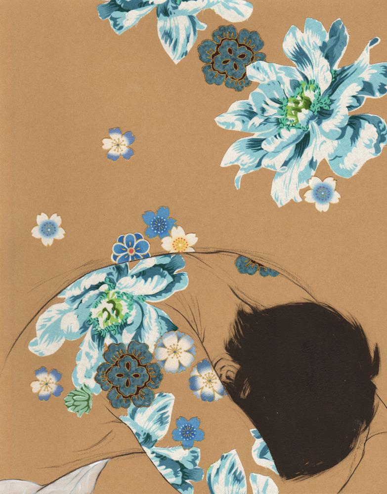 "rfmmsd:  Illustrator & Artist: Stasia Burrington ""Crumple"" Pencil, Ink, Acrylic and Fabric on Stonehenge Kraft Paper 11"" × 14"" 2013"