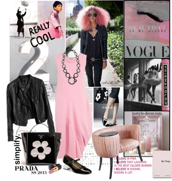 Pink 2013 by mariapia65 featuring jil sander ❤ liked on PolyvoreJil Sander , $1,470 / Biking jacket / Marni  / Souffle Cocktail Club Chair at 1stdibs